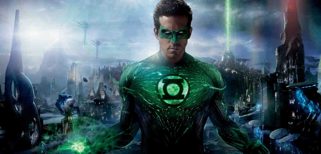 Ryan Reynolds is test-pilot-turned-superhero Green Lantern, powered by emeralds on a set of green gunk.