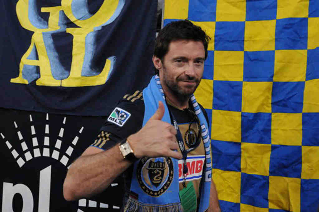 Hugh Jackman gives a thumbs up, sans those Wolverine claws, while attending a Union game Saturday night at PPL Park.