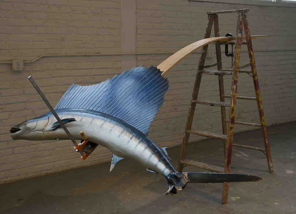 """Adjustable Sculpture with Sailfish,"" a found-object sculpture by David Brooks, is part of an exhibition at Jolie Laide."