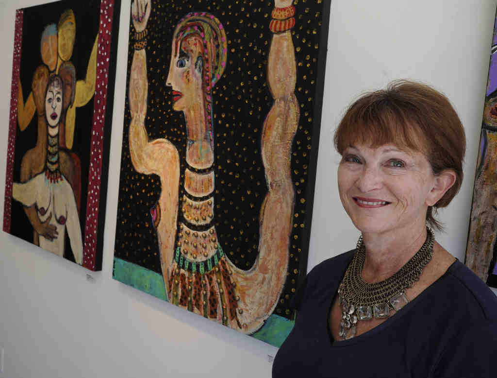 """Susan Wallack at the Muse Gallery. """"I love these women,"""" she says of her creations. """"They have things to say."""""""
