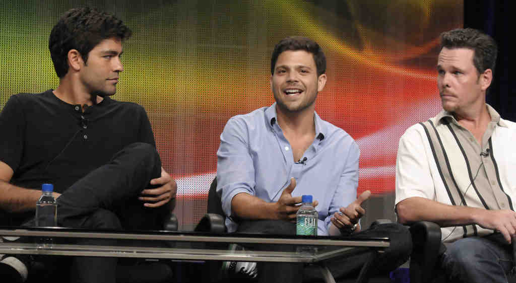 """""""Entourage"""" actors Adrian Grenier (left), Jerry Ferrara, Kevin Dillon at the television critics´ summer press tour Thursday. It was their last appearance together as a TV cast."""