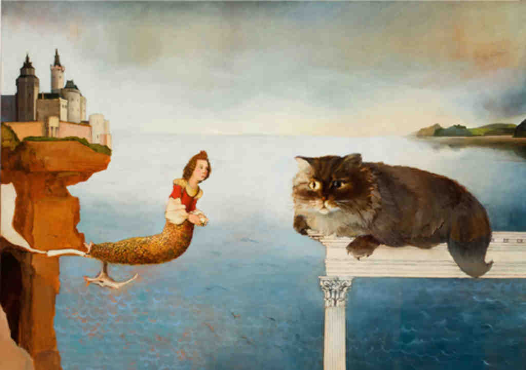 """""""Meet Halfway"""" (2008) by the fantasist Anne Canfield, from the summer show """"Polarity"""" at Seraphin Gallery."""