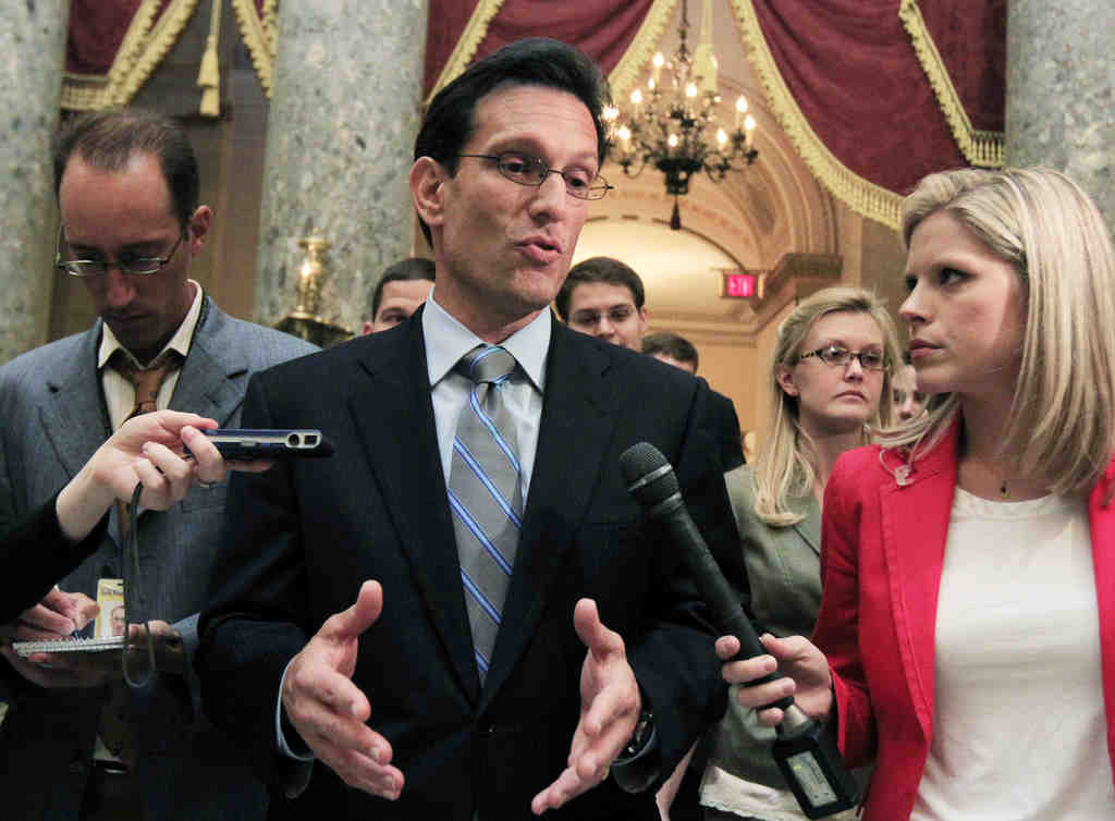 House Majority Leader Eric Cantor (R., Va.) leaves the House chamber after the House of Representatives passed the emergency legislation to avoid a government default. He says certain promises cannot be kept.