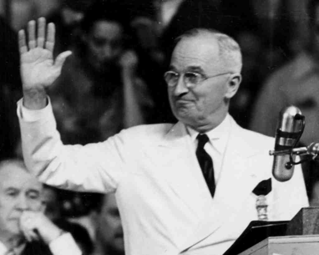 Harry S. Truman , accepting the nomination at the Democratic convention in Phila., 1948.