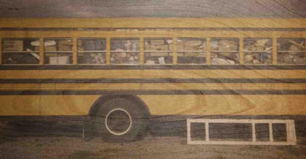 """Untitled (Bus),"" one of Mark Havens´ photographs on wood panel."