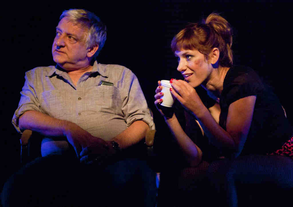 """Simon Russell Beale and Charlotte Parry in """"Bluebird."""" The story centers on a London cabdriver, played by Beale, who hears melancholy stories from his unhappy passengers."""