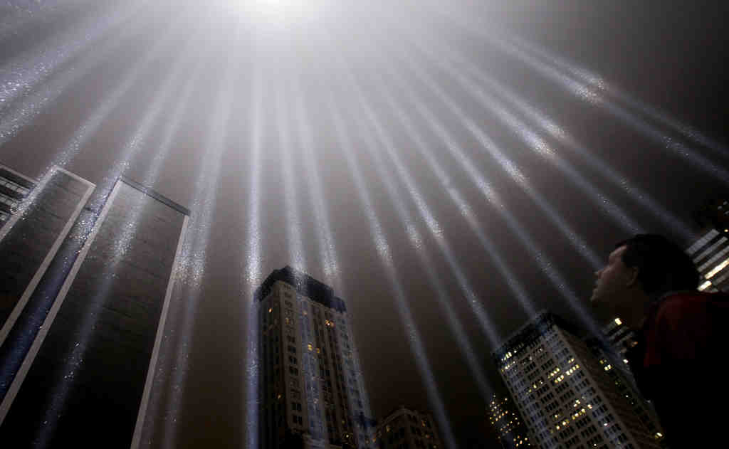 A test of the Tribute in Light rises above Lower Manhattan. The tribute, sponsored by the Municipal Art Society, will light up the sky Sunday night.