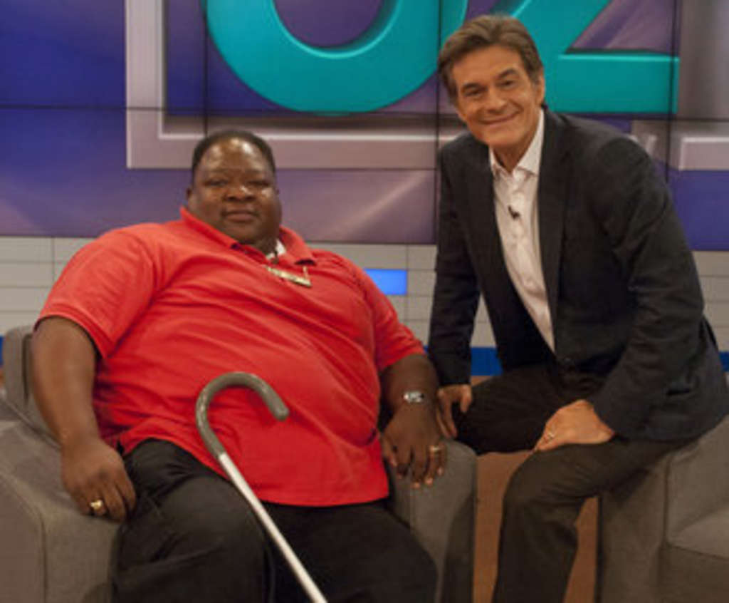 Monty G (left) with Dr. Mehmet Oz: Off to training camp