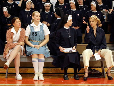 "On set in West Chester for ""The Mighty Macs"" are (from left) Meghan Sabia, Taylor Steel, Marley Shelton as Sister Sunday, and Carla Gugino as Immaculata coach Cathy Rush. After much travail, the movie is set to be released. (Matt Rourke / Associated Press)"