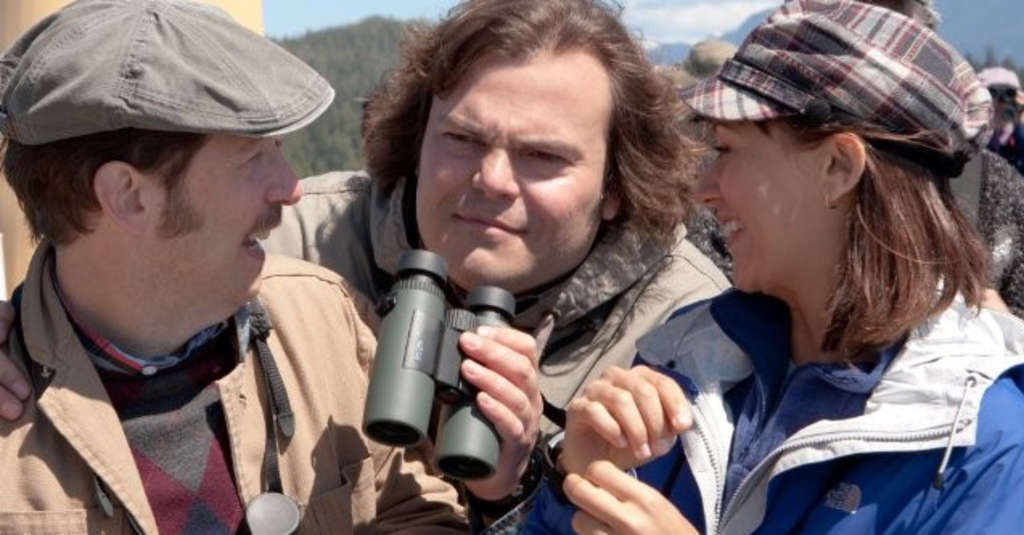 "Tim Blake Nelson (left), Jack Black and Rashida Jones are in the hunt for rare birds in David Frankel´s eccentric ""The Big Year."""