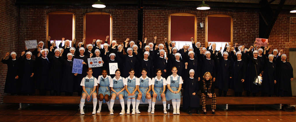 "Nuns and players in a scene from ""The Mighty Macs."" The film celebrates the Cinderella 1971-72 season of the Immaculata College women´s basketball team and its coach, Cathy Rush."