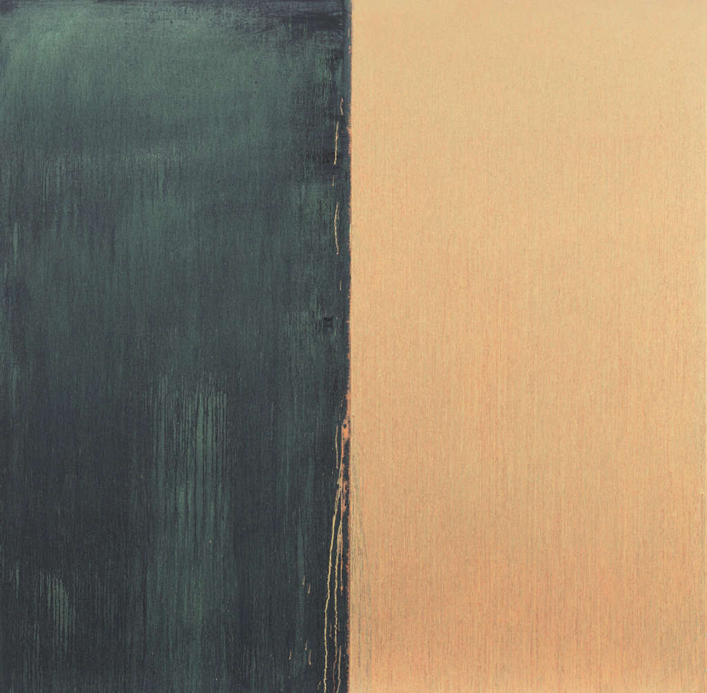 """Paynes Grey and Naples Yellow Over Green"" (2011) is among new paintings by Pat Steir at Locks."
