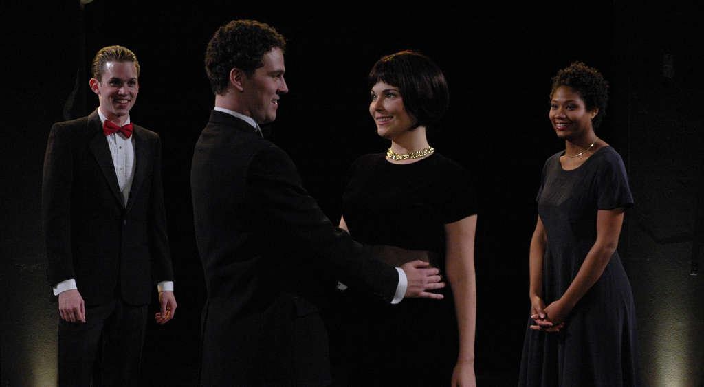 The Quintessence Theatre production stars (from left) Daniel Fredrick (Gratiano), Sean Bradley (Bassanio), Jessica Dal Canton (Portia), and Leslie Nevon Holden (Nerissa).