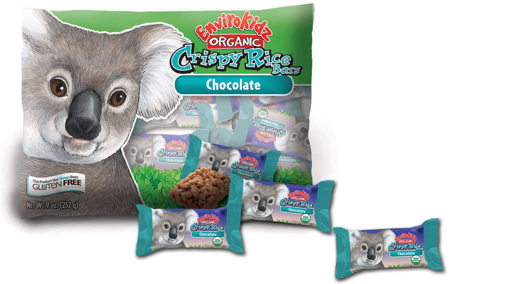 Treat-size EnviroKidz Chocolate Crispy Rice Bars, $4.99 for 21, are gluten-free, low in fat and sodium, and made with whole grains and without pesticides. One percent of sales are donated to nonprofits that benefit habitat, endangered species, and youth education.