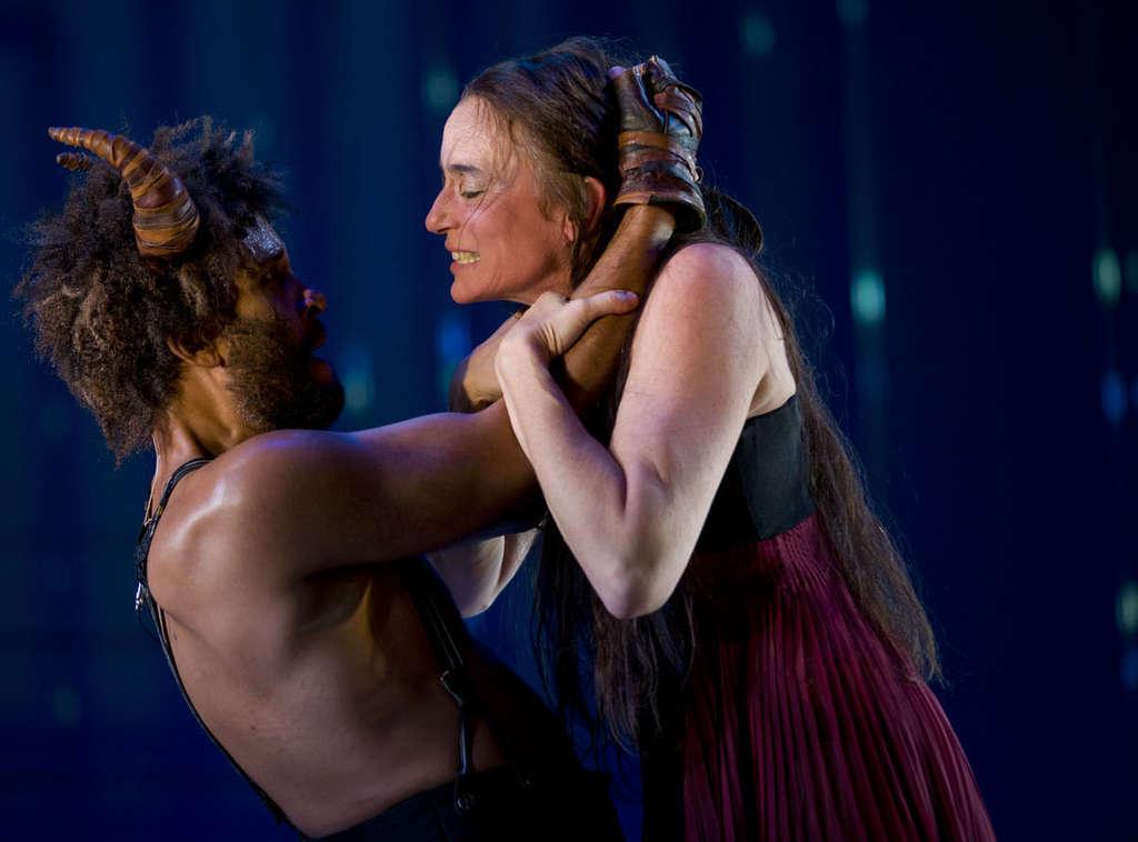 "Stephanie Roth Haberle and Julio Monge as Phaedra and the Minotaur in McCarter Theatre´s ""Phaedra Backwards."""