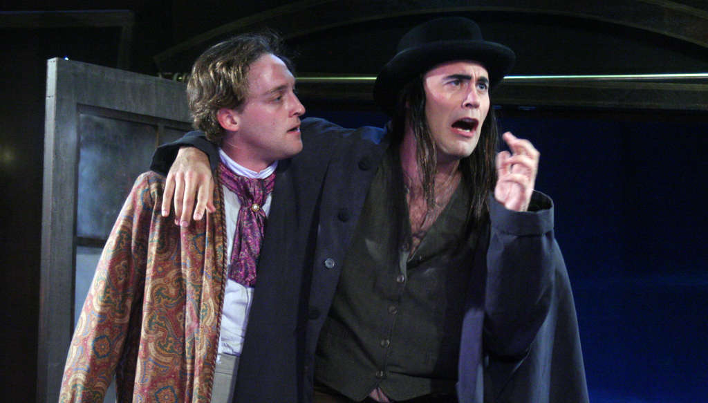 """Luigi Sottile (left) and Dito van Reigersberg fill multiple roles in the inspired madness of Act II Playhouse´s """"The Mystery of Irma Vep."""""""