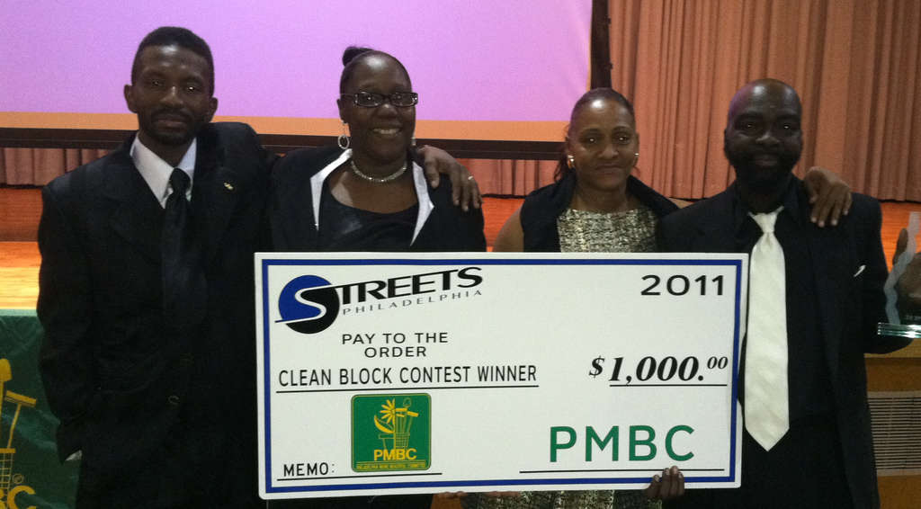 Clean Block winners from the 3600 N. Marvine St. (from left):Willie and Dianna Lawrence, and Sharon and Lawrence Burgess.