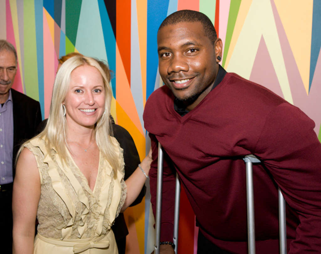 Art gallery owner Bridgette Mayer with Phillies first baseman Ryan Howard, who visited Thursday with his fiancee, Krystle Campbell.
