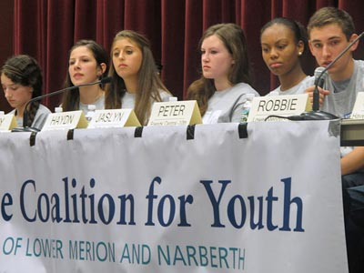 """Students from the Youth Advisory Council answer questions from the audience at the """"Talking Back"""" panel at the Haverford School. (Photo courtesy of the Coalition for Youth of Lower Merion and Narberth)"""
