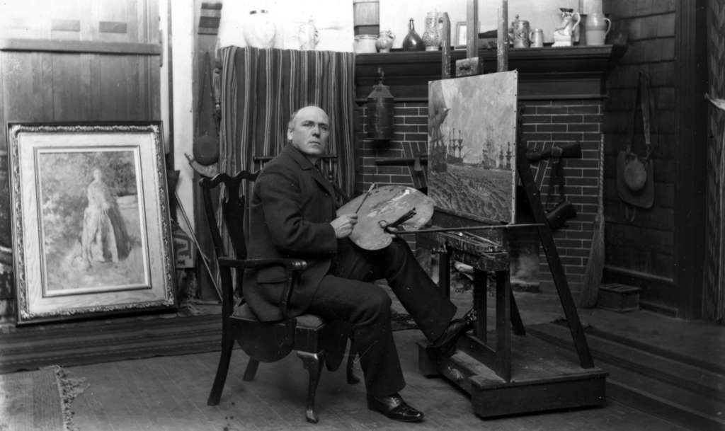 Howard Pyle at his studio easel in 1898. Pyle made his living and reputation from commissions for book and periodical illustrations. As a teacher, his followers included N.C. Wyeth.