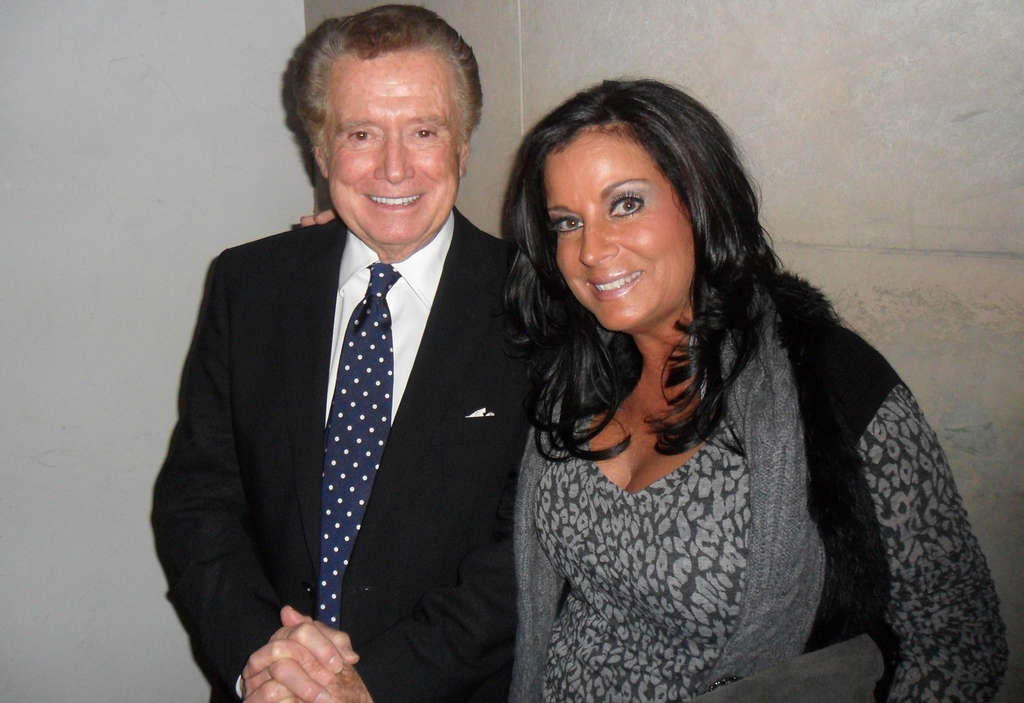 Regis Philbin with Bucks County sex-toy merchant Melissa Kraut at his retirement party.