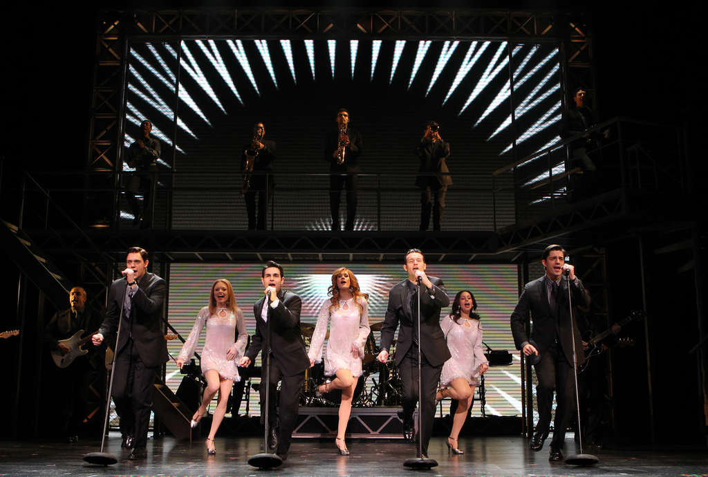 """From left, Jason Kappus, Brad Weinstock, Colby Foytik, Brandon Andrus and the company of """"Jersey Boys."""""""