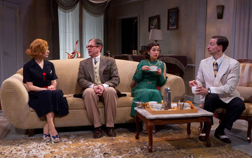 """The cast of the Lantern Theater Company´s """"Private Lives"""" (from left), K.O. DelMarcelle, Leonard C. Haas, Geneviève Perrier, and Ben Dibble."""