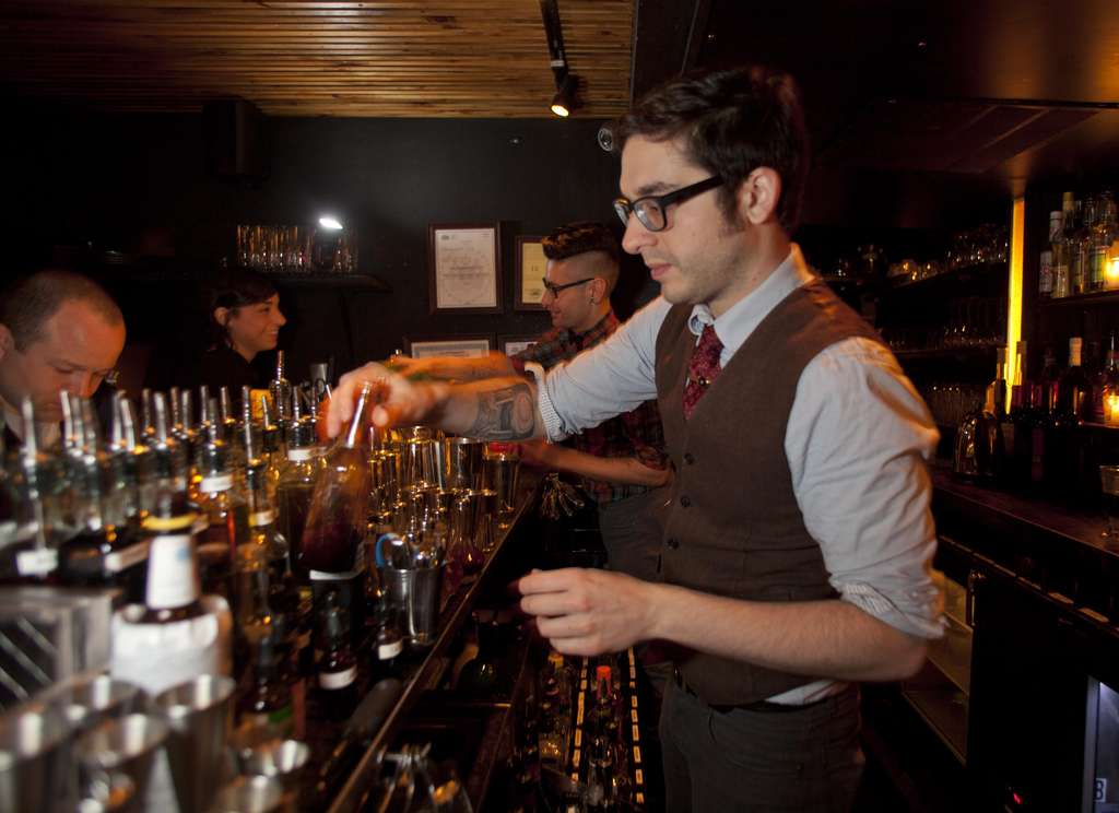 Bartender Al Sotack mixes at Franklin Mortgage & Investment Co., named one of the Top 25 Bars in America by GQ and hailed by Esquire.