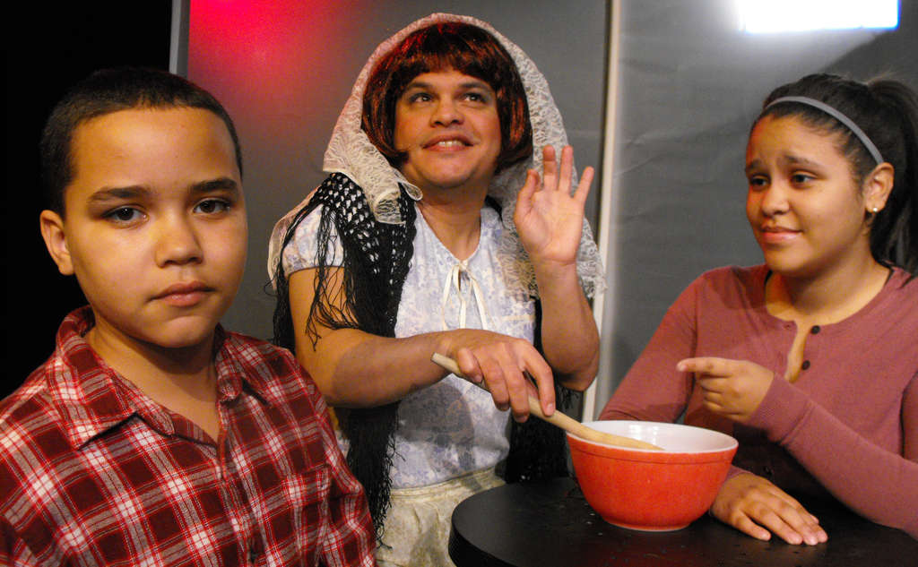 """""""Un Viaje: A Christmas Journey,"""" about a woman and her children on a journey to their cultural roots, features (from left) James Gribling, Victor Rodriguez, and Ansil Guzman. The bilingual family production is presented by Walking Fish Theatre in Fishtown."""