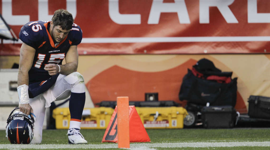 Denver Broncos quarterback Tim Tebow has drawn attention for his gesture of dropping to one knee, bowing his head, and praying.