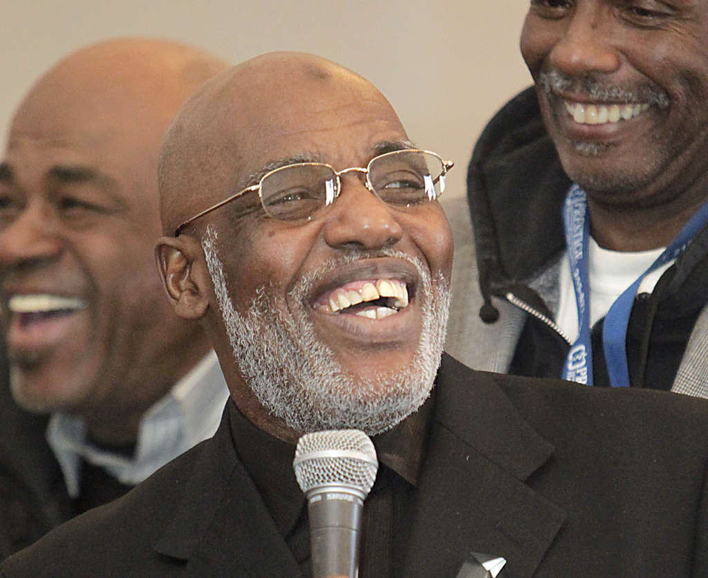 Kenneth Salaam was all smiles after receiving the Harris Wofford Active Citizenship Award last week.