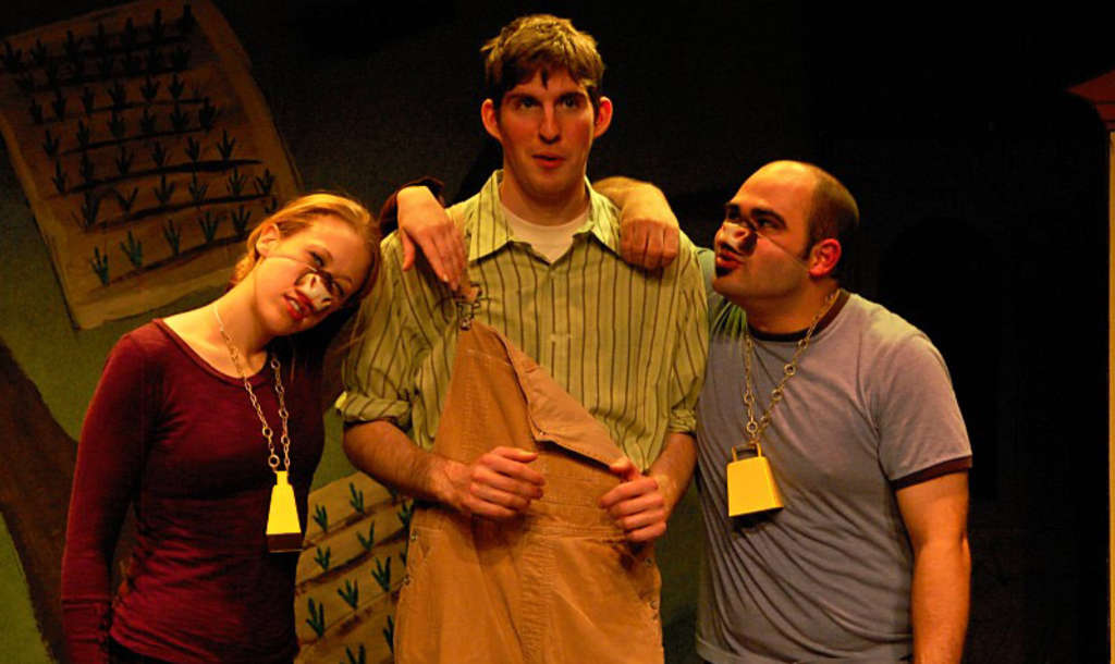 """In the cast of """"Tiny Tales"""": (from left) Lizzie Himmelman, Jonah Patten, and Nick Fragale. It's an original show presented by the Off-Color Theatre Company, a troupe consisting mostly of University of the Arts graduates who came together in the 2009 Live Arts Festival/Philly Fringe."""