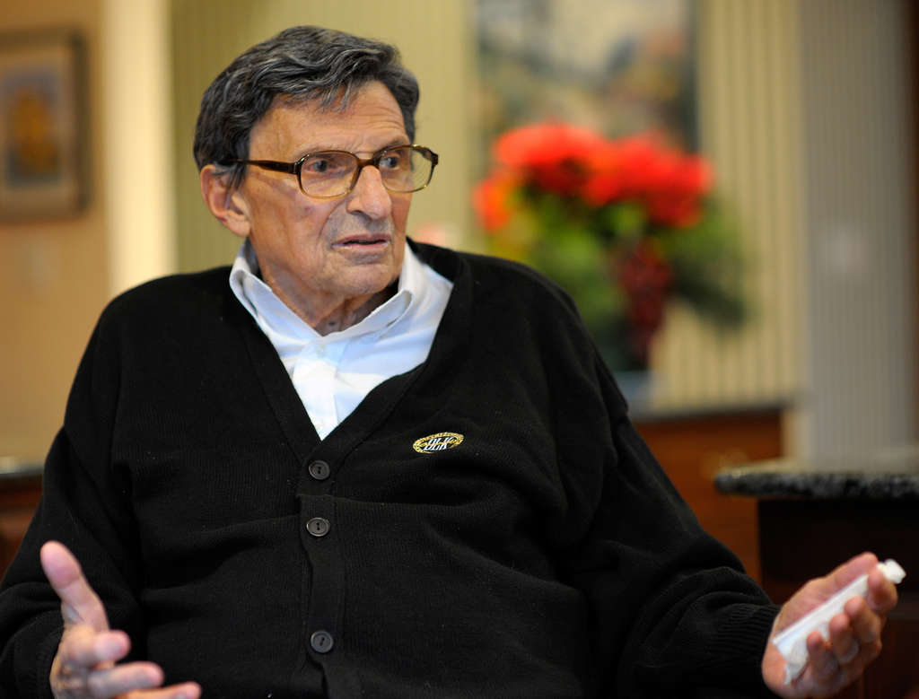 Joe Paterno met the press - sort of - to tell his side of the Penn State scandal story.