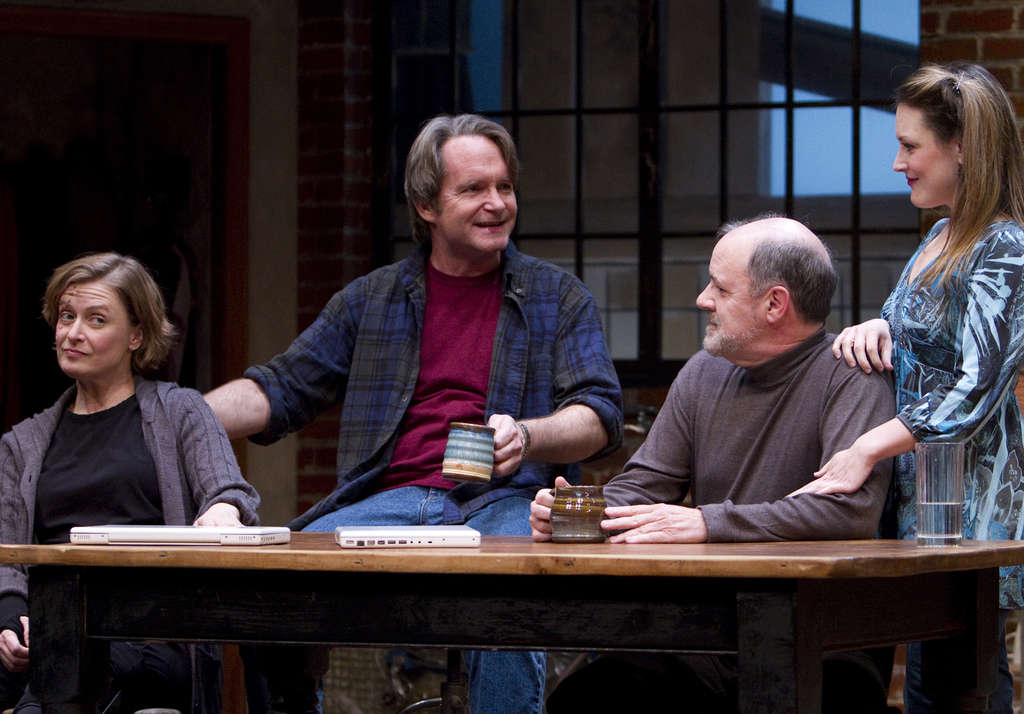 The cast: (from left) Susan McKey as the wounded combat photographer, Kevin Kelly as a writer she lives and often works with, Bruce Graham, and Megan McDermott.