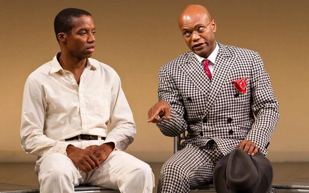 """Rodney Hicks and Forrest McClendon in """"The Scottsboro Boys"""" running through Feb. 9 at the Suzanne Roberts Theatre. Many plays about race have moved beyond February."""