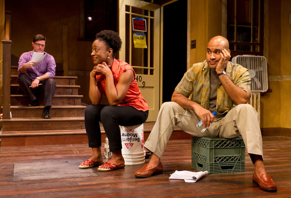 """The cast of """"Clybourne Park"""" includes (from left) Steve Pacek, Erika Rose, and Josh Tower. The play, often funny, deals openly with race."""