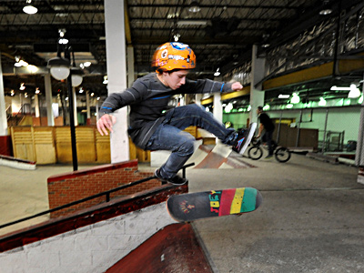 Joe Marrone, 13, works on his moves at the Black Diamond Skatepark. The business is closing as the Moorestown Mall adds four restaurants and a cineplex that will feature 3D movies and stadium seating, all a result of the town´s vote to allow alcohol at the mall. (April Saul / Staff Photographer)