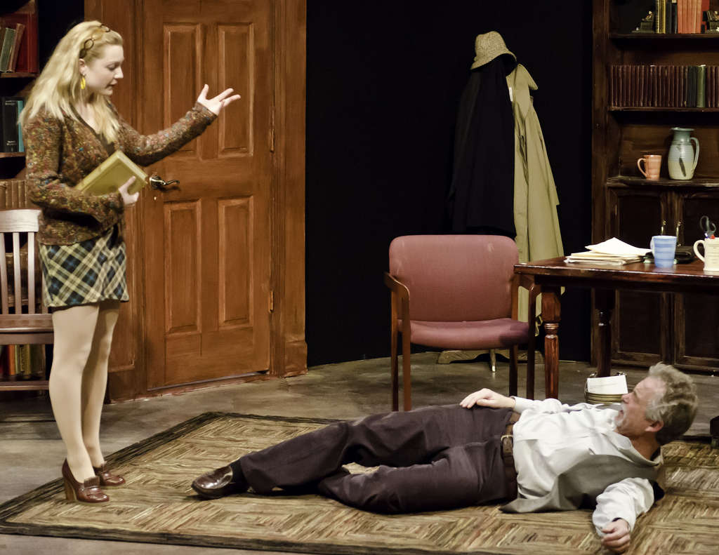 """Meredith Beck and Michael Hagan play student and tutor in Hedgerow Theatre´s production of """"Educating Rita."""""""