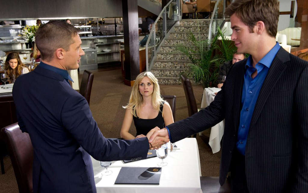 "In ""This Means War,"" Tom Hardy (left) and Chris Pine are best-buddy CIA agents battling over Reese Witherspoon´s affections."