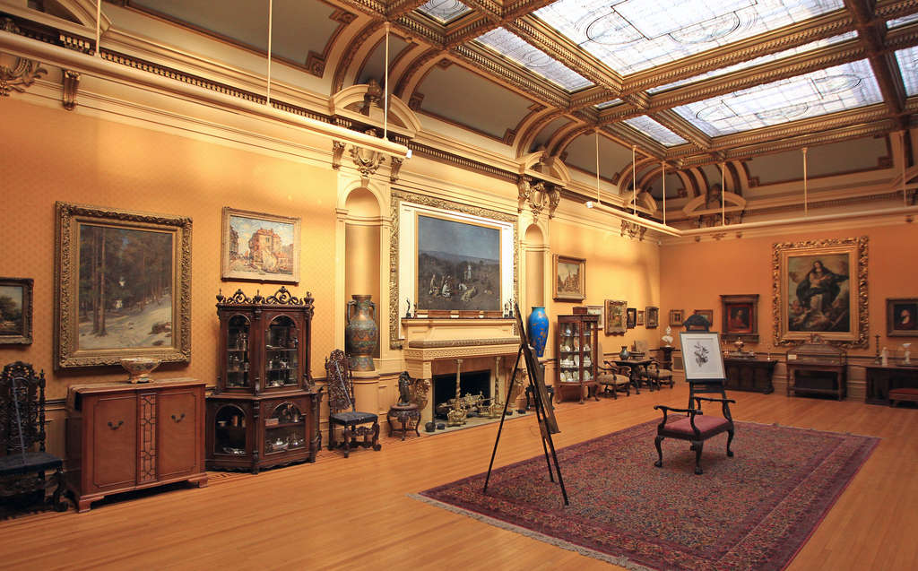 """Art gallery on the second floor, with skylight, at Glen Foerd. """"We have a really rich history we can tap into,"""" says the new executive director, citing programs on classical music, art, gardening."""