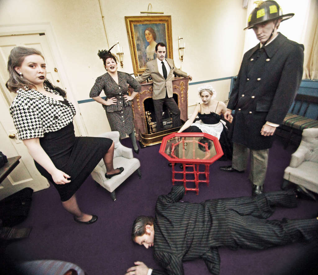 From left, Megan Slater, Sarah Schol, John Jarboe, Gwen- dolyn Rooker, Brad- ley Wrenn, Griffin Stanton-Ameisen (on floor). The couples switch roles every hour, the maid and fire chief do . . . who knows what?