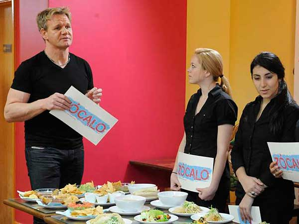 Gordon Ramsay reviews the menu at Zocalo with staff during the taping in late 2011.