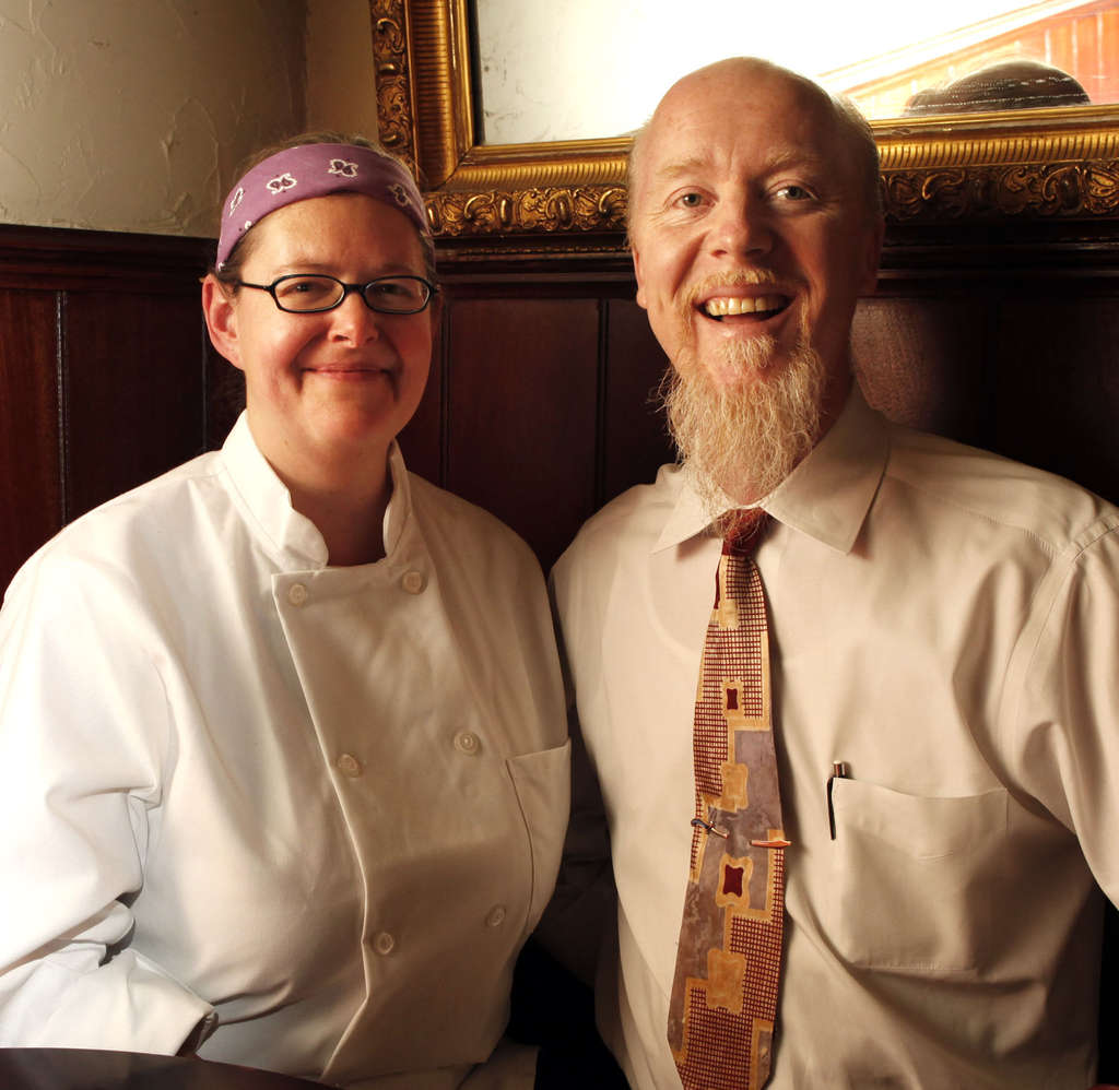 Sheri and Kip Waide, Southwark restaurant owners. At their winter-harvest meal, everything but coffee was grown within 100 miles.