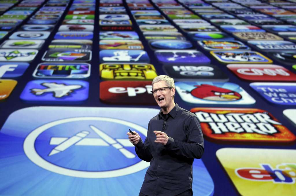 Apple CEO Tim Cook in San Francisco where the new iPad model was revealed Wednesday.