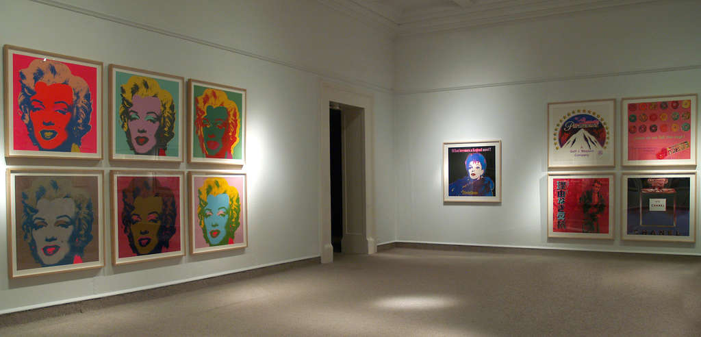 At Reading Public Museum´s Andy Warhol exhibition, six Marilyns (left) and a Judy Garland (right) show the pop artist´s ability to refresh a mundane or clichéd image through radical color combinations. His influence was on par with Picasso and Duchamp.