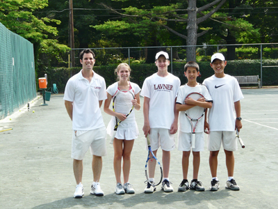Justin Lavner (far left) with tennis campers from Lavner Camps and Programs (courtesy Sharla Feldscher Public Relations).
