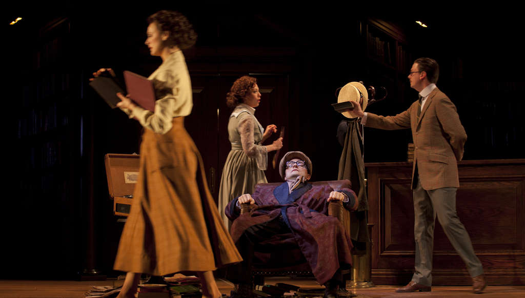 at McCarter Theatre places a historical person, Henry Carr, at its center, relating a half-century later events that occurred in 1917 Zurich. CHARLES ERICKSON
