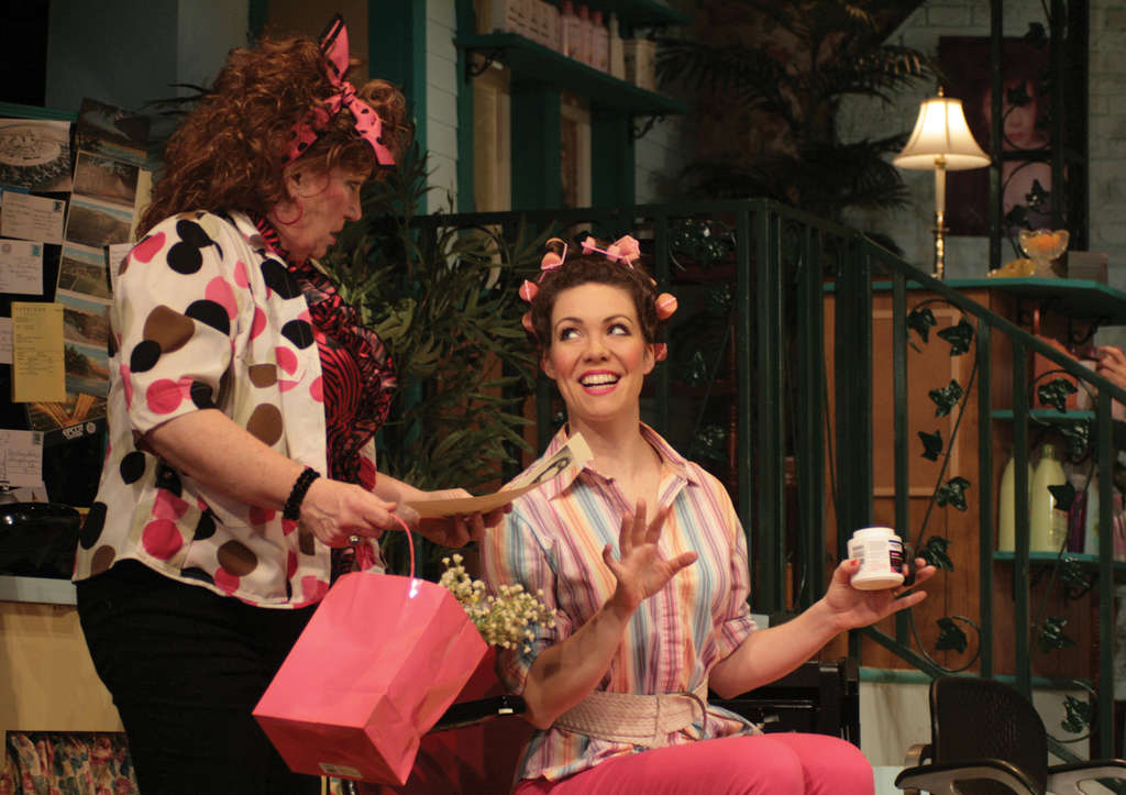 "Jo Twiss (left), Jennie Eisenhower in ""Steel Magnolias."" Bringing it off demands that the six players act as a unified force, and at that, the cast at Bristol excels."