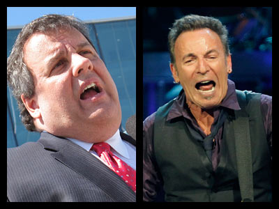 Gov, Chris Christie, left, and Bruce Springsteen.