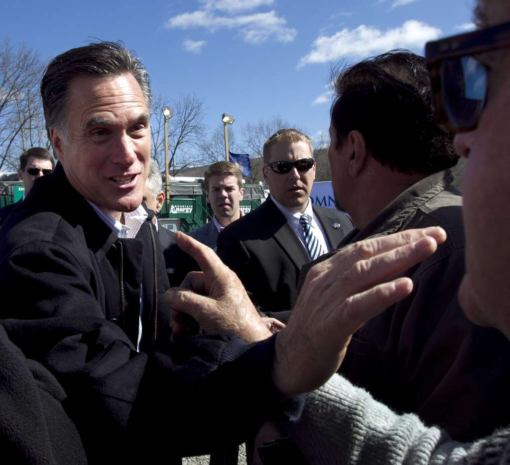 Mitt Romney in Tunkhannock, Pa., said he would support opening Augusta National to women. STEVEN SENNE / AP